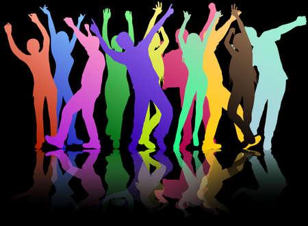 dansende vrouwen en mannen met een achtergrond
