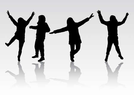 gens heureux: Happy People silhouettes