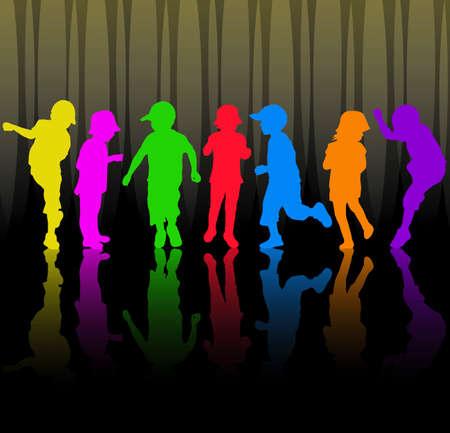 ni�os bailando: Ni�os felices bailando juntos