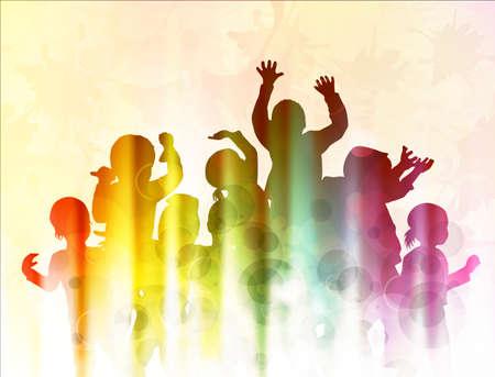 niños bailando: Niños felices bailando juntos