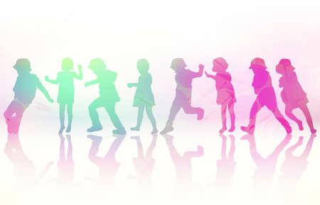 함께 춤을 추는 행복한 아이들