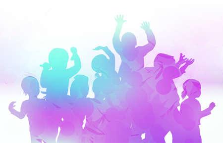 enfants qui dansent: Des enfants heureux dansent ensemble Illustration