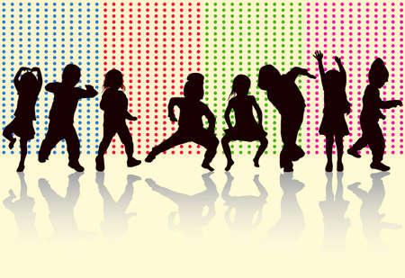 Happy children dancing together