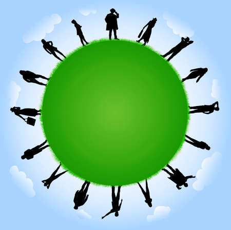 slhouette: People silhouettes with globe illustration Illustration