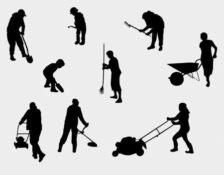 cutting grass: people working outdoors silhouettes Illustration
