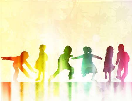 kinderen silhouetten samen dansen
