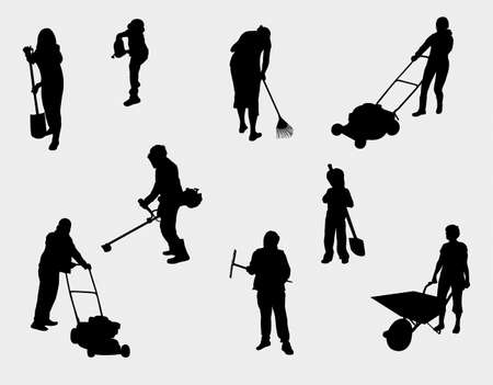 people working outdoors silhouettes Ilustracja