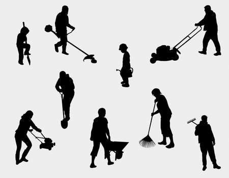 people working outdoors silhouettes Vector Illustration