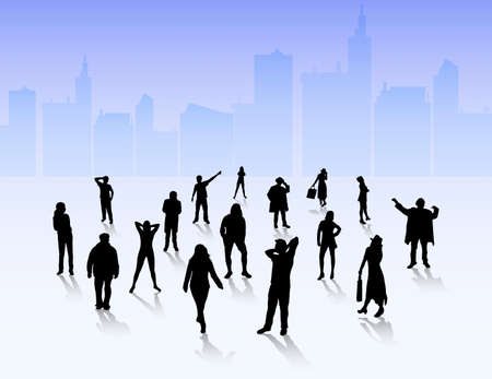 slhouette: People silhouettes outdoors Illustration