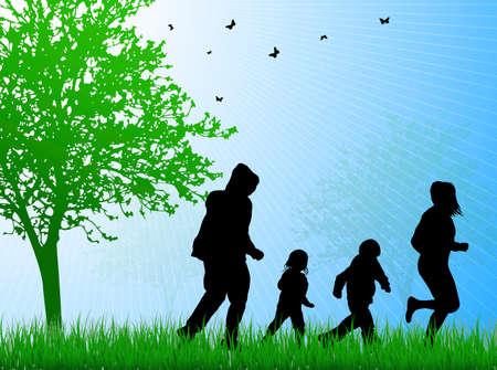 gelukkig gezin samen buitenshuis Stock Illustratie