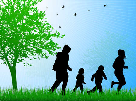 grass family: happy family together outdoors Illustration
