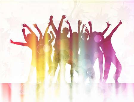 la gente que baila siluetas felices