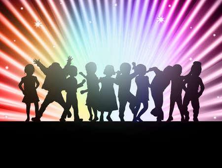 happy children together dancing