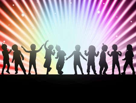 gelukkige kinderen samen dansen Stock Illustratie