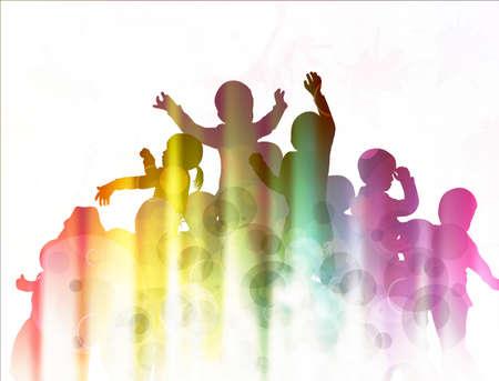 Niños felices siluetas bailando juntos Foto de archivo - 38016509
