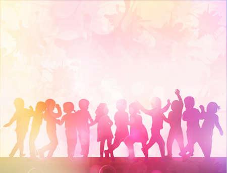 niños bailando: niños felices siluetas bailando juntos
