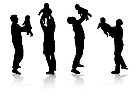 family together silhouettes 版權商用圖片 - 38016531