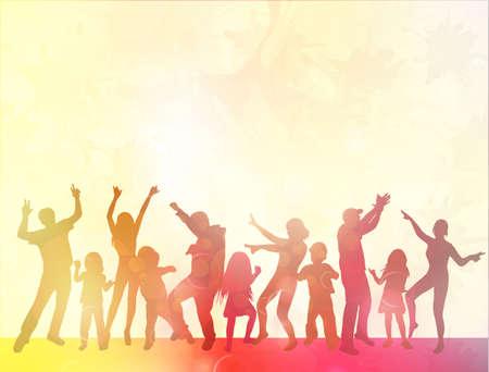 Gelukkige mensen met kinderen dansen Stock Illustratie