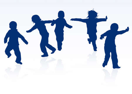 children group: happy children silhouettes dancing together