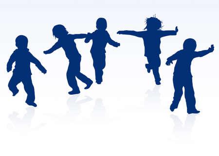 niños danzando: niños felices siluetas bailando juntos