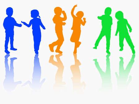 De gelukkige kinderen silhouetten samen dansen Stock Illustratie