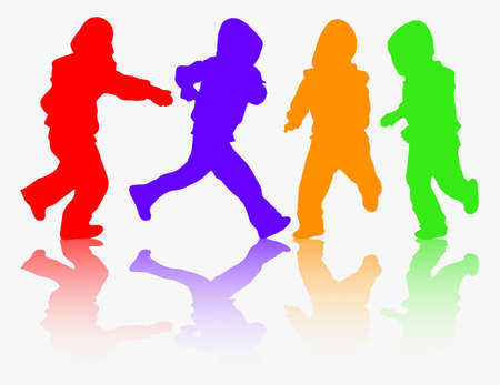 niños bailando: felices los niños siluetas de grupo