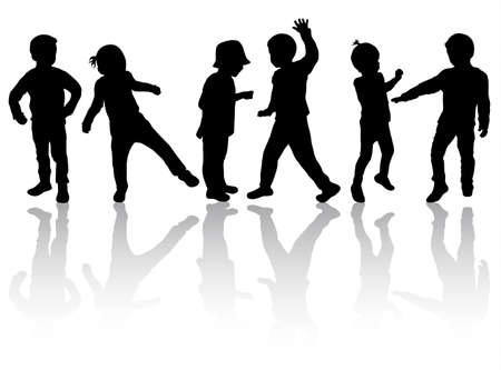 happy children silhouettes dancing together