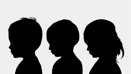 silhouettes of children: children silhouettes Stock Photo