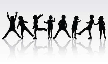 Danza sagome di bambini Archivio Fotografico - 59037244