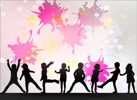 Danza sagome di bambini Archivio Fotografico - 59037266