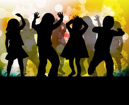 Danza sagome di bambini Archivio Fotografico - 59037321
