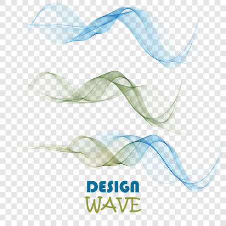 Set of abstract color smoke waves transparent green and blue wavy design.
