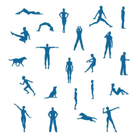 woman lying down: Una variada colecci�n de caracteres en poses diferentes.