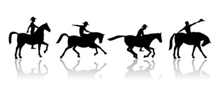 west indian: Image sequences of a cowboy riding a horse.