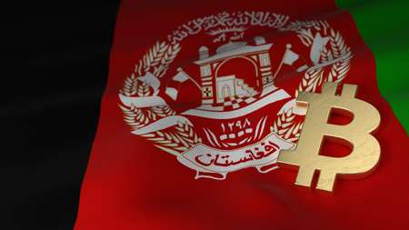 Bitcoin Currency Symbol on Flag of Afghanistan