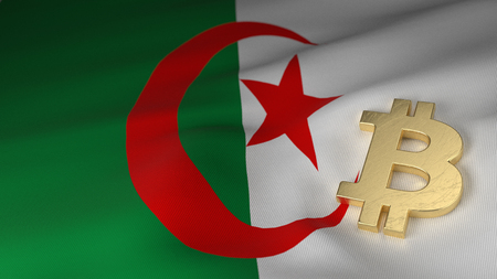 the miners: Bitcoin Currency Symbol on Flag of Algeria