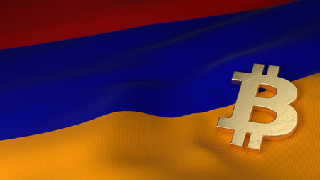 the miners: Bitcoin Currency Symbol on Flag of Armenia