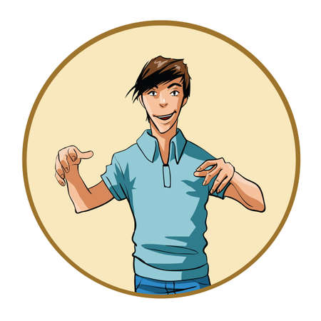 intense: Man with intense expression and hands raised Illustration