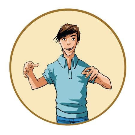intense: Uomo con intensa espressione e le mani alzate