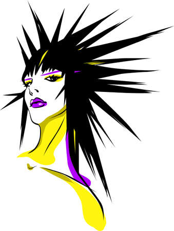 Woman with spiky hair Vector