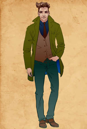 autumn fashion: Handsome  man in a coat.Vector illustration