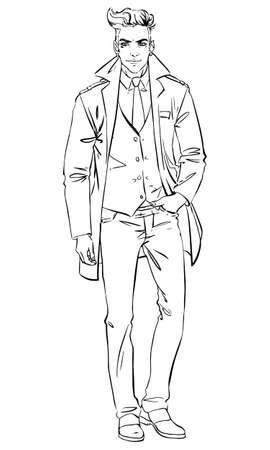 hombre guapo: Hombre hermoso en una ilustraci�n coat.Vector