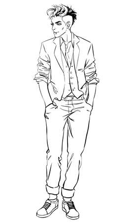 full length portrait: Full length portrait of handsome young man.Vector illustration