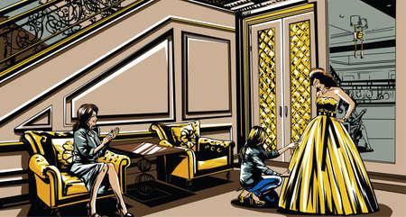 kleedkamer: De bruid in de kleedkamer