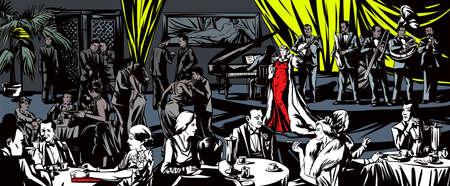 organized crime: Singer sings in a restaurant Illustration
