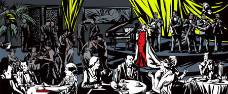 cigar smoking woman: Singer sings in a restaurant Illustration