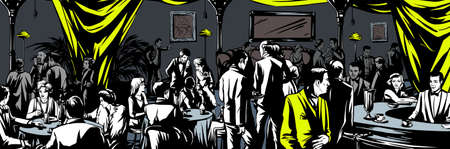 escena crimen: Underground bar Prohibici�n Vectores