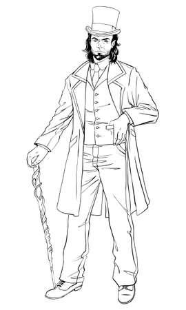 nobleman: Elegant man of the nineteenth century. Vintage. Illustration