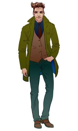 Uomo bello in un cappotto Vettoriali