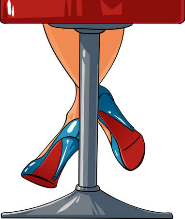 bar chair: Sexy woman legs staying on a bar chair Illustration